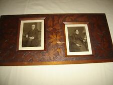 Antique Pyro-Art Frame with 2 family Photos Leaves ~  Flowers 9467