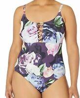 NWT La Blanca Plum/Bloomfield Strappy Convertible One Piece Swimsuit Women's 8