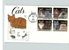Cats; 4 Different stamps; Maine Coon, Siamese, Persian, American Shorthair, Fdc