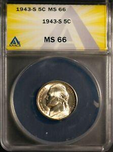1943-S 35% Silver 5C Jefferson Head War Nickel MS 66 ANACS 7149723 + Bonus