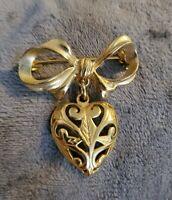 vintage bow sweetheart brooch pin goldtone ornate openwork