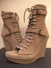 ANN DEMEULEMEESTER Lace Up Ankle Strappy Wedge Sandal Open Toe Boots 41