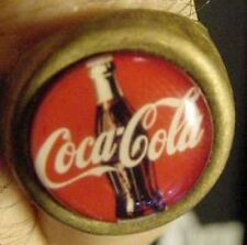 VINTAGE COKE BOTTLE COCA COLA GUMBALL MACHINE RING 60's brass soda advertising