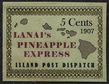"1907 U.S. Hawaii ""Lanai ""Pineapple Express"" 5 Cents, Dull Green Phantom Stamp NG"