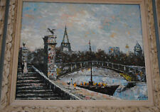 Oil on Canvas Impressionism Painting Paris signed Monterin