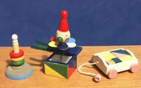 1/12 dolls house miniature 3 Wood Nursery Toy Mix Toys Set Shop Hoops etc LGW