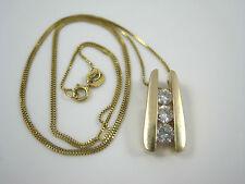 "14k YG 1/2ct SI1-2 Diamond 3-Stone Pendant & Gold ITALY 18.5"" 1mm Box Chain 4.3g"