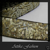 Gold Metallic Sequin EMBROIDERED RIBBON TRIM 1y Shiny Glittery Edging DIY Craft