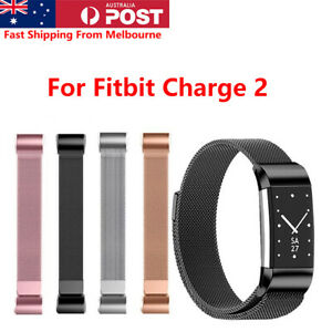 For Fitbit Charge 2 Band Milanese Loop Metal Wristband with Magnetic Buckle