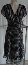 Coldwater Creek NWT pretty polka dots full swing dress black white 10P