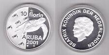 ARUBA - SILVER PROOF 10 FLORIN COIN 2001 YEAR KM#20 TURTLE