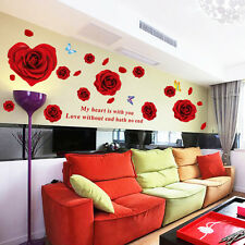 Red Rose Flower Wall Sticker Marriage Room Warm Love Home Decals Bedroom Decor