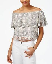 25ab2f167a4 Rachel Rachel Roy Off-the-shoulder Lace Crop Top Natural M M4e2