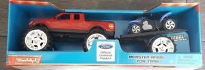 Buddy L Ford Truck Monster Wheel Tow Team Red W/ Detachable Trailer & 4 Wheeler