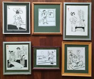 6x Fred Robinson Original Cartoon Artwork Ink or Watercolour Framed, circa 1980