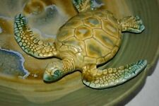 """Lrg Platter Tray 3-D Sea Turtle Star fish Frog mark signed A Moore 14 1/2"""""""