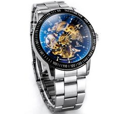 Auto-Cuerda Alienwork ik automático Esqueleto Mecánico Negro Reloj De Plata