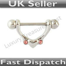 Heart Nipple Bar with Pink Stones - UK Seller - Fast Dispatch! ring swing shield