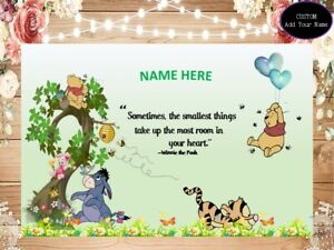 Baby Shower Winnie pooh Backdrop Personalized Birthday  Banner add Name