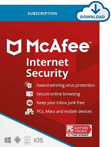 McAfee Internet Security 2021 Premium Subscription Unlimited Device 1 to 3 year