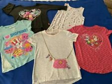 LOT OF 5 GIRLS SHIRTS, LONG, SHORT, SLEEVELESS, SIZE L (10-12) SHOPKINS