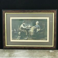 Framed Picture Print Old Fashioned Family Scene 33 X 24cm