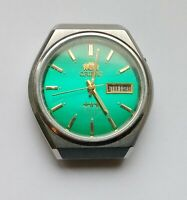 Vintage Japan Wrist Watch Automatic Orient 3 Stars Crystal 21 jewels Green Dial