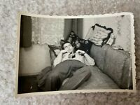 Sleeping Guy Bulge Couch Tie Glasses Gay Interest 1940s Vintage Photograph