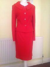 Hobbs 'RUBENS' Flame Red Skirt Suit UK 12 WOOL Blend