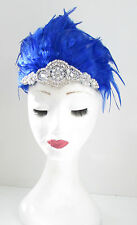 Blue & Silver Feather Headdress Burlesque Headband 1920s Showgirl Carnival Y34