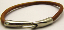 "Vintage 7.5"" Bracelet w/ Faux Brown Leather & Metal Hook Clasp Nice Silver Tone"