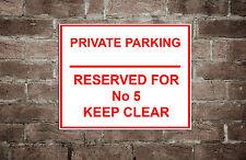 Metal Personalizado no cartel de estacionamiento/privada con tu número de casa cualquier