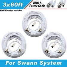 WHITE PREMIUM 180FT CCTV SURVEILLANCE BNC CABLES FOR 16 CH SWANN D1 DVR SYSTEMS