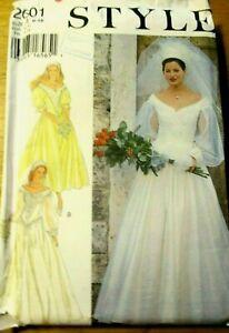 STYLE Sewing Pattern no. 2601 LADIES WEDDING DRESS size 6-16  UNCUT