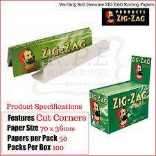 Zig Zag Green Regular/Standard Size Cigarette Rolling Papers - One Full Box