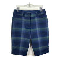 Nike Golf Dri-Fit Women's Size 4 Blue Green Plaid Bermuda Shorts Athletic