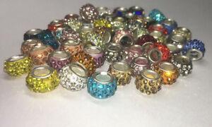 Strass Beads, Großlochperlen, Fimo-Perlen  10 Stück bunt gemischt Bohrung 5mm