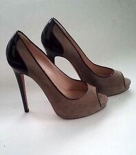 Oscar de La Renta Beige Brown Leather Stiletto Open Dress Heels Walk Shoe  sz 40