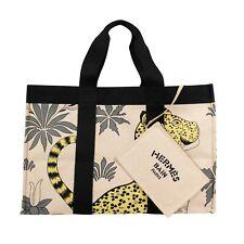 NWT HERMES PARIS Beige Cotton Leopard Print Large Beach Bag