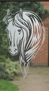 LARGE FROSTED GLASS VINYL STICKER,HORSE HEAD, DECAL, 410MM X 245MM