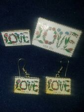 USPS Love Stamp Earrings with 2 sizes of Love Stamp Pins