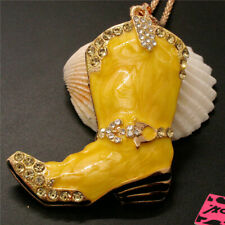 New Enamel Rhinestone Yellow Women's Boots Pendant Betsey Johnson Chain Necklace