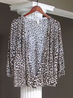 CHICO'S Black Taupe White Print 3/4 Sleeve Cardigan Sweater Size 3 (16-18)