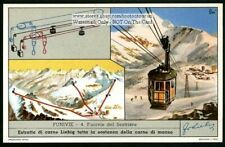 Cable Car Sestriere Bianco Italy Mountain Alp Snow Skiing c50 Y/O Trade Ad Card