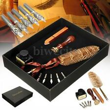 Antique Owl Feather Metal Nibs Quill Dip Pen and Ink Set Kit Stationery Gift New