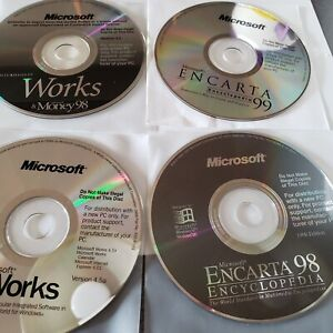 Microsoft Works 98 Microsoft Encarta 98 & 99 bundle of Microsoft windows disks.