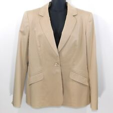 Escada Women Cotton Blend Tan Single Button Blazer Jacket, Size 40 ( U.S. 10)