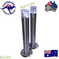 2 Garden / Landscape LED Modern Stainless Steel & Glass Tall Tube Bollard Lights