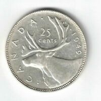 CANADA 1949 25 CENTS QUARTER KING GEORGE VI CANADIAN .800 SILVER COIN