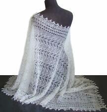 Etole blanche, Chale Orenbourg Cadeau original Femme Etole blan tricotée main